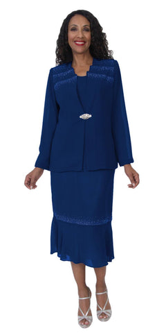 Hosanna 5111 Plus Size 3 Piece Set Navy Blue Tea Length Dress