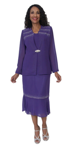 Hosanna 5111 Plus Size 3 Piece Set Purple Tea Length Dress