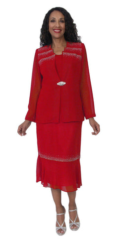 Hosanna 5111 Plus Size 3 Piece Set Red Tea Length Dress