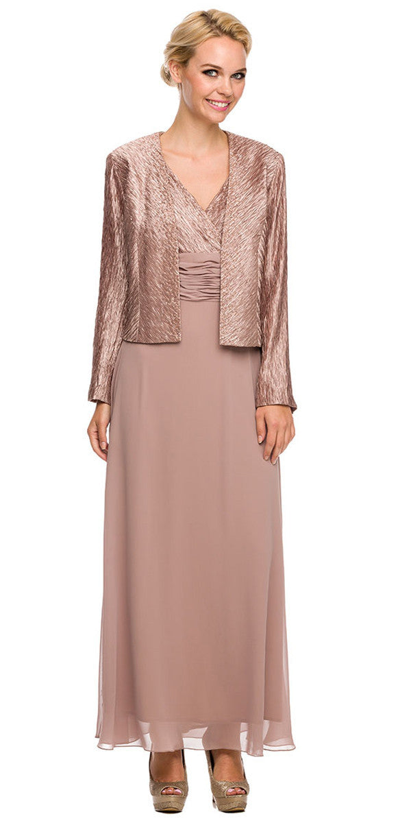 Plus Size Mother Groom Gown Blush/Tan Long Jacket Chiffon