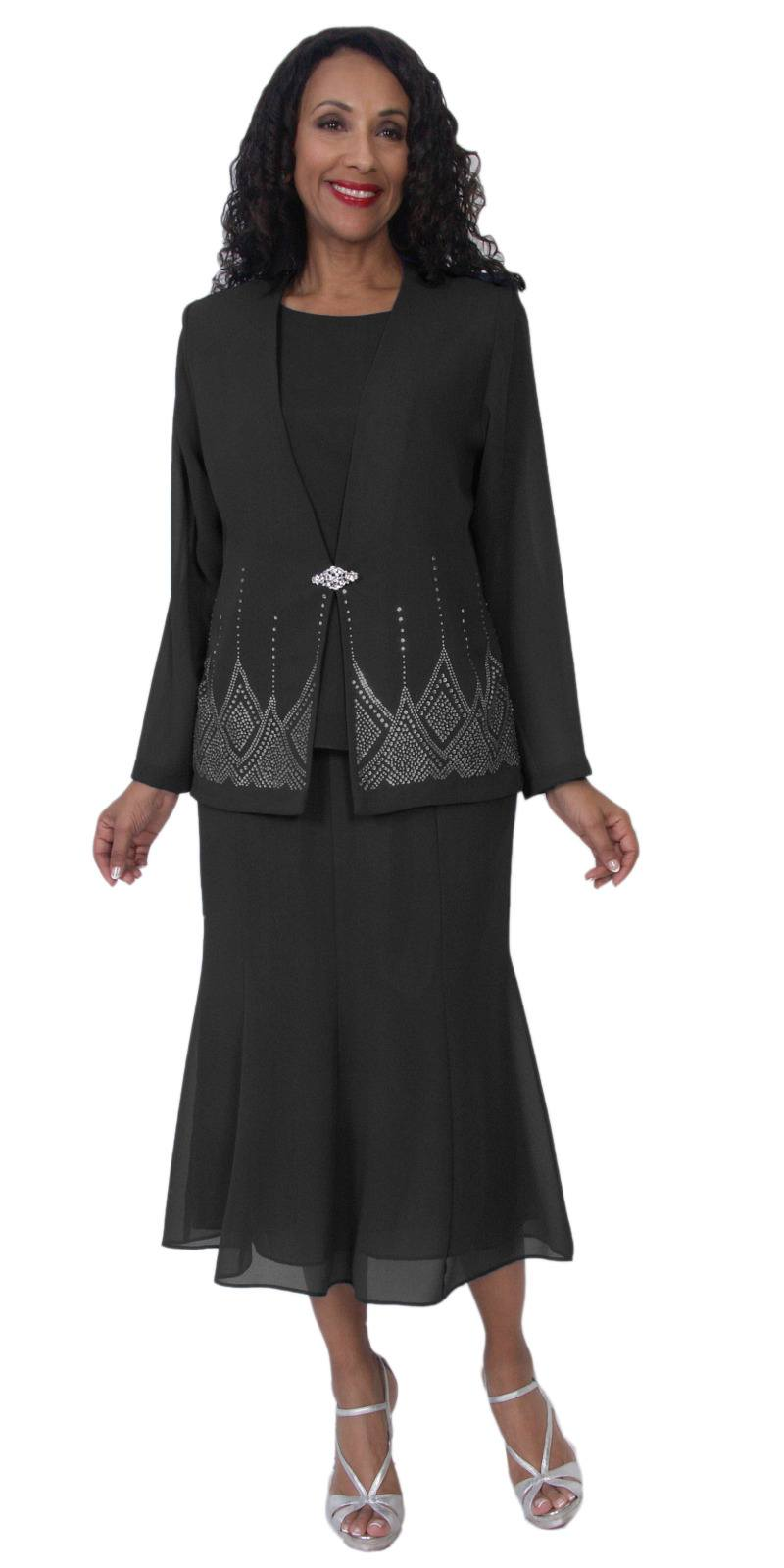 415fb436237 Hosanna 5115 Plus Size 3 Piece Set Black Tea Length Dress ...
