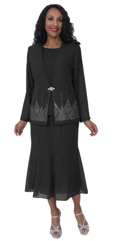 Hosanna 5115 Plus Size 3 Piece Set Black Tea Length Dress