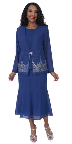 Hosanna 5115 Plus Size 3 Piece Set Royal Blue Tea Length Dress