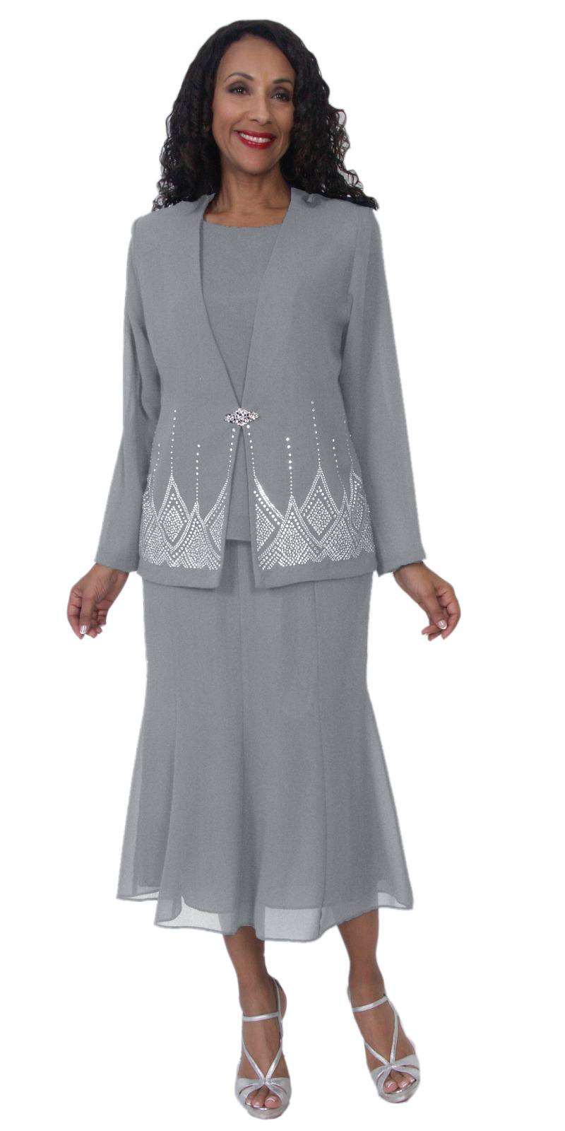 66785484154 ... Hosanna 5115 Plus Size 3 Piece Set Silver Tea Length Dress ...