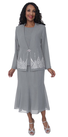 Hosanna 5115 Plus Size 3 Piece Set Silver Tea Length Dress