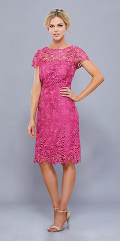 Short Knee Length Lace Dress Ruby Short Sleeves Keyhole