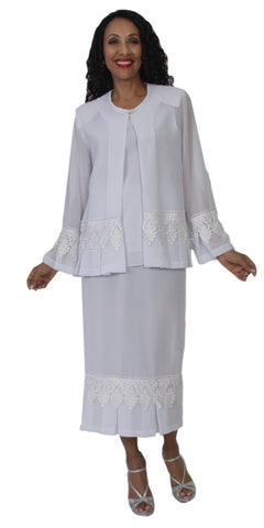 Hosanna 5116 Plus Size 3 Piece Set White Tea Length Dress