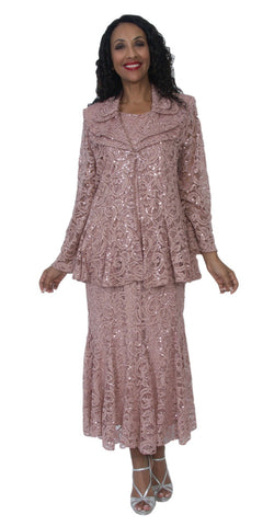 Hosanna 5117 Plus Size Lace 3 Piece Set Taupe Tea Length Dress
