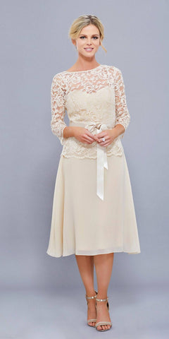 Knee Length Champagne Bridesmaid Dress Mid Lace Sleeves