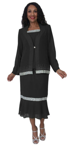 Hosanna 5118 Plus Size 3 Piece Set Black Tea Length Dress