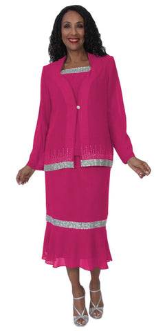 Hosanna 5118 Plus Size 3 Piece Set Fuchsia Tea Length Dress