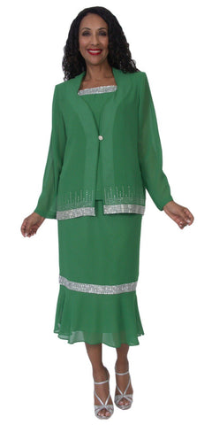 Hosanna 5118 Plus Size 3 Piece Set Kelly Green Tea Length Dress