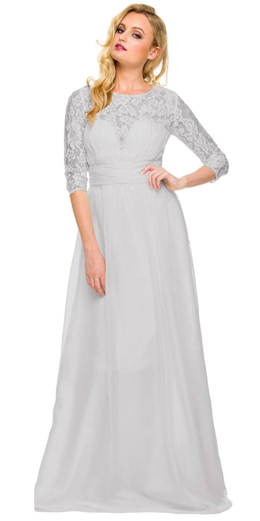 Long Plus Size Silver Semi Formal Gown Lace Mid Sleeves