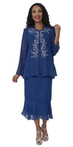 Hosanna 5119 Plus Size 3 Piece Set Navy Blue Tea Length Dress
