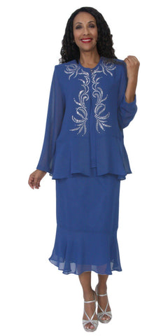 Hosanna 5119 Plus Size 3 Piece Set Royal Blue Tea Length Dress
