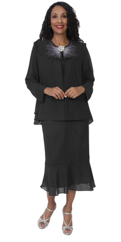 Hosanna 5120 Plus Size 3 Piece Set Black Tea Length Dress