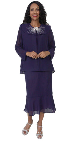 Hosanna 5120 Plus Size 3 Piece Set Plum Tea Length Dress
