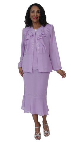Hosanna 5121 Plus Size 3 Piece Set Lilac Tea Length Dress