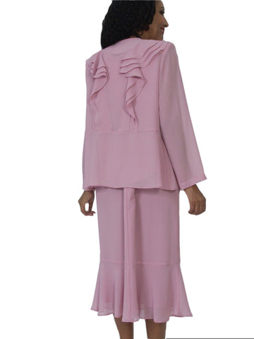 Hosanna 5121 Plus Size 3 Piece Set Rose Tea Length Dress