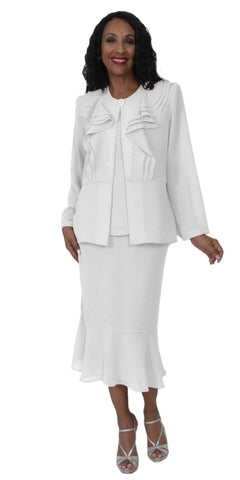Hosanna 5121 Plus Size 3 Piece Set White Tea Length Dress