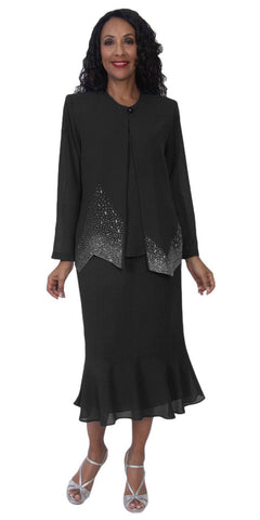 Hosanna 5122 Plus Size 3 Piece Set Black Tea Length Dress