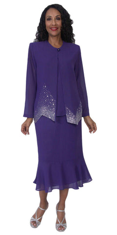 Hosanna 5122 Plus Size 3 Piece Set Purple Tea Length Dress