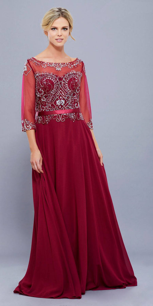 Plus Size Burgundy Evening Gown Sheer Sleeves A Line