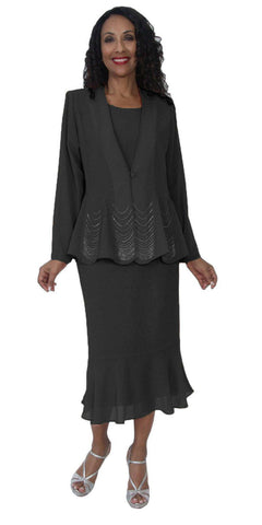 Hosanna 5126 Plus Size 3 Piece Set Black Tea Length Dress
