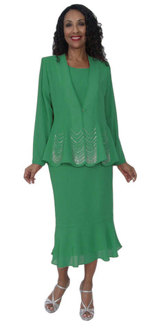 Hosanna 5126 Plus Size 3 Piece Set Kelly Green Tea Length Dress