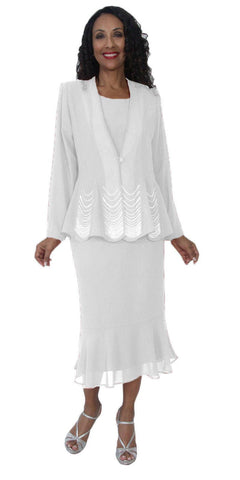 Hosanna 5126 Plus Size 3 Piece Set White Tea Length Dress