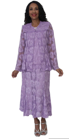 Hosanna 5128 Plus Size 3 Piece Set Lilac Tea Length Lace Dress