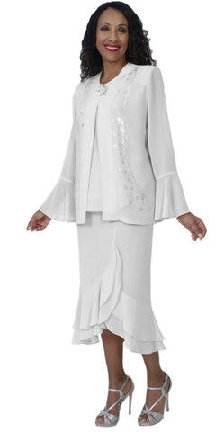Hosanna 5129 Plus Size 3 Piece Set White Tea Length Dress