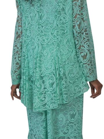 Hosanna 5130 Plus Size 3 Piece Set Mint Tea Length Dress