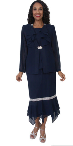 Hosanna 5131 Plus Size 3 Piece Set Navy Blue Tea Length Dress