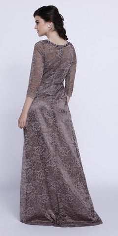 Embellished Neckline Lace Mid Sleeves Floor Length Formal Gown Mocha - DiscountDressShop