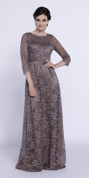 Embellished Neckline Lace Mid Sleeves Floor Length Formal Gown Navy Blue