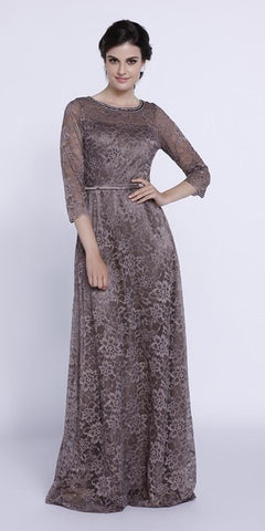 Embellished Neckline Lace Mid Sleeves Floor Length Formal Gown Mocha