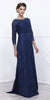 Embellished Neckline Lace Mid Sleeves Floor Length Formal Gown Navy Blue - DiscountDressShop