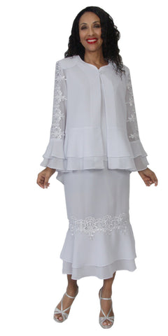 Hosanna 5132 Plus Size 3 Piece Set White Tea Length Dress