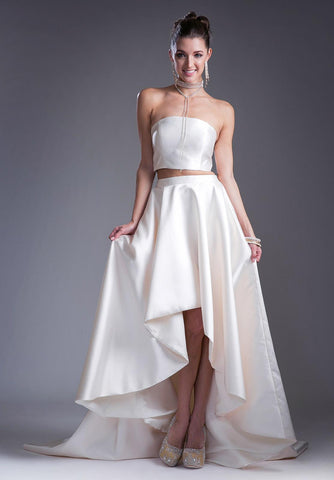 Cream Two-Piece Strapless High and Low Prom Gown