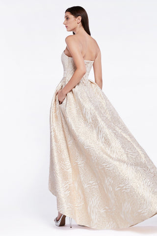Gold High and Low Strapless Prom Dress with Pockets