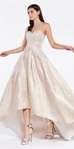 Beaded Embroider Bodice Ruffled Ballgown Champagne Cold Shoulder