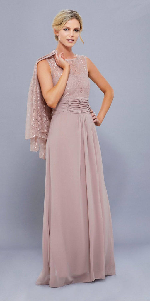 Tan Lace Bodice Bateau Neck Sleeveless Gown with Matching Bolero