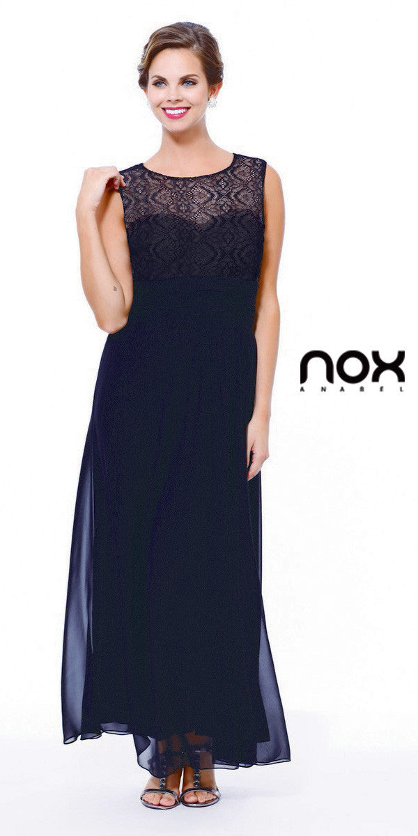 Black Lace Bodice Bateau Neck Sleeveless Gown with ...