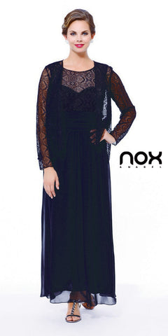 Black Lace Bodice Bateau Neck Sleeveless Gown with Matching Bolero