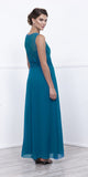 Teal Lace Bodice Bateau Neck Sleeveless Gown with Matching Bolero Back View