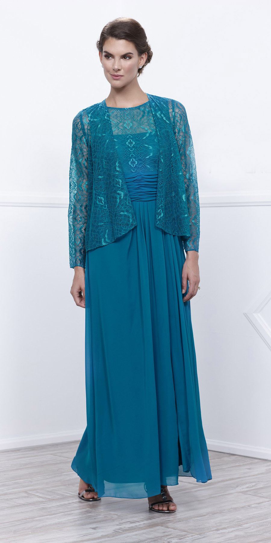 Teal Lace Bodice Bateau Neck Sleeveless Gown with Matching Bolero