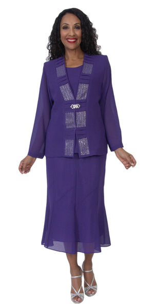 Hosanna 5138 Plus Size 3 Piece Set Purple Tea Length Dress