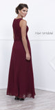 Long Burgundy Dress Scoop Neck A-Line Sleeveless with Lace Jacket Back View