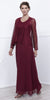 Long Burgundy Dress Scoop Neck A-Line Sleeveless with Lace Jacket